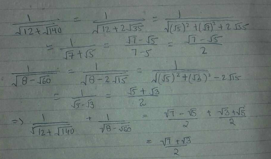 The value of 1/√ 12+√ 140+1/√ 8-√ 60 is