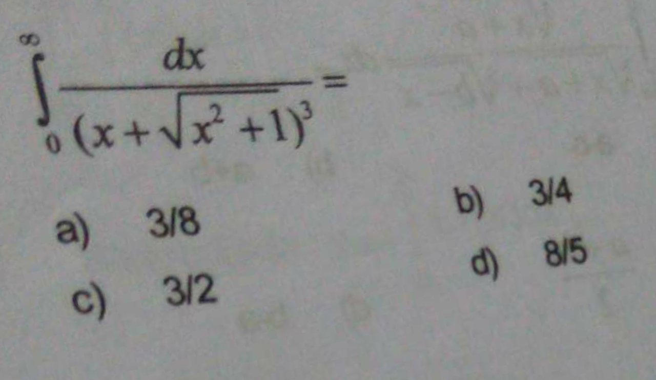 Check here step-by-step solution of ' ∫^∞_0dx/(x+√x2+1)3' questions at Instasolv!