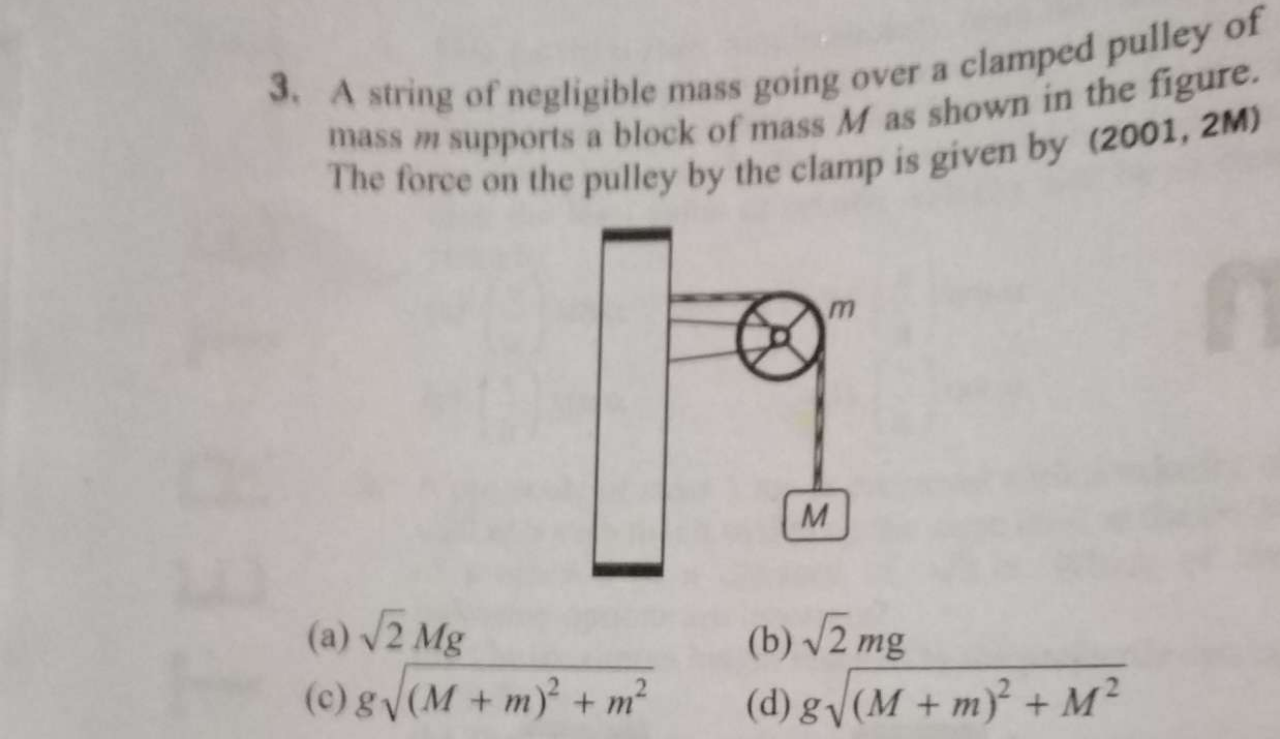 A string of negligible mass going over a clamped pulley mass m supports a block of mass M as shown in the figure. The force on the pulley by the clamp is given by (2